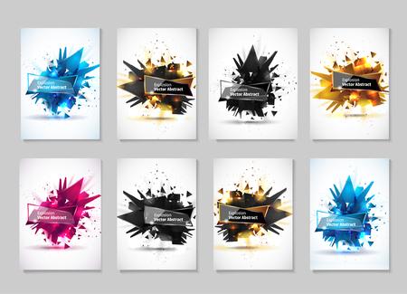 Vector illustratie, abstract object, explosie stof materie. Abstract object met de afbeelding van de explosion.Abstract sjabloon voor het ontwerp. Vector Illustratie