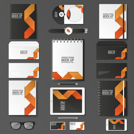 Corporate identity template set. Business stationery mock-up with . Branding design. Notebook, card, catalog, pen, pencil, badge, tablet pc mobile phone letterhead