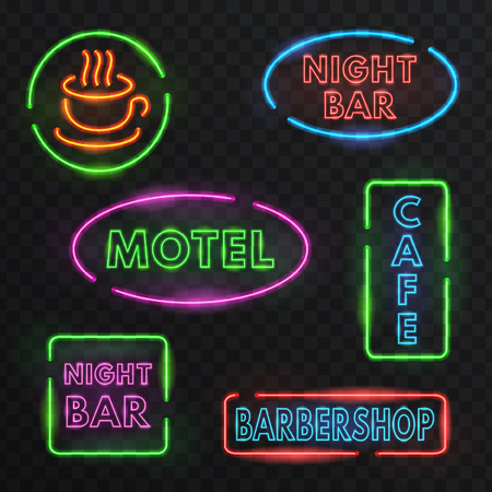 old time: Illustration with the image of neon signs. retro design.Objects are made and represent the old style and old time.