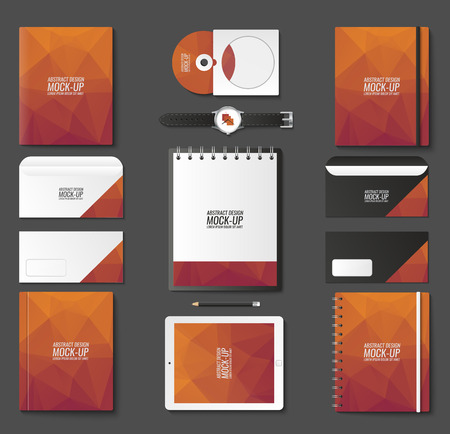 Corporate identity template set. Business stationery mock-up with logo. Branding design. Notebook, card, catalog, pen, pencil, badge, tablet pc mobile phone letterhead Logo