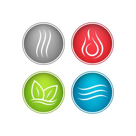 Cuatro fuerzas elementos. Agua, fuego, tierra, aire Los símbolos de magia y poder.
