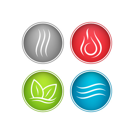 Four forces elements. Water, fire, earth, air. The symbols of magic and power. Standard-Bild