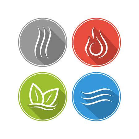 Vier Kräfte Elemente. Wasser, Feuer, Erde, Luft. Die Symbole der Magie und Macht. Das Layout für das Logo. Standard-Bild - 68224073