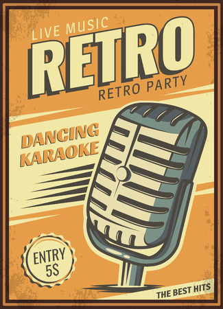 The poster in vintage style on a retro party banner, invitation, flyer, advertising.  illustration of retro disco and dance. Old microphone. Other variations you can find in my portfolio.