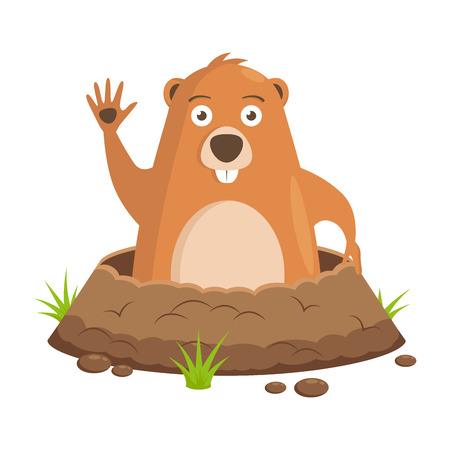 Vector image, drawing to the day of the celebration of Groundhog. Celebratory background. Festival beginning of spring.