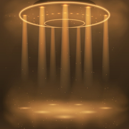 invader: Illustration of the effects of smoke, lights, lamps. Vector graphics . Design alien and UFO background. The flying machine in the air with the effect of light.