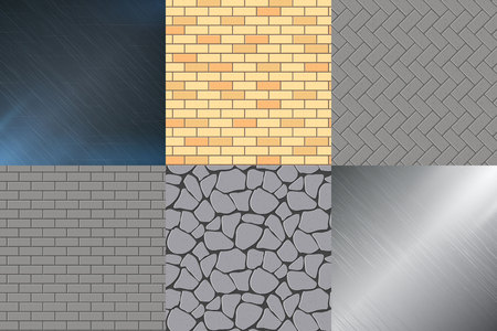 any size: Metal background and set seamless vector illustration of seamless stone, brick. Which can be used and expanded to any size without loss of quality.