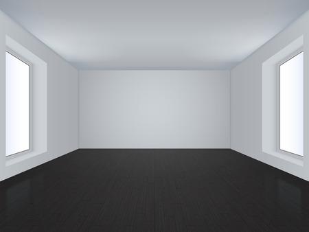 Illustration of plain white room interior.