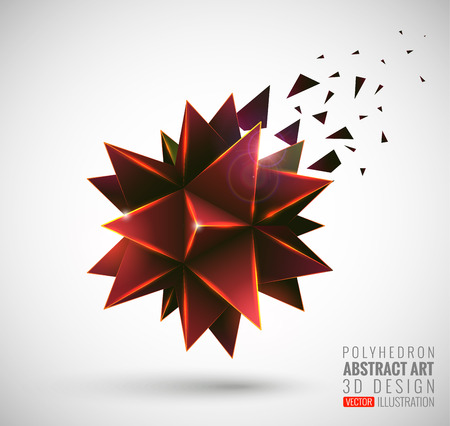 solid figure: Abstract explosion. Vector polyhedron. Vettoriali