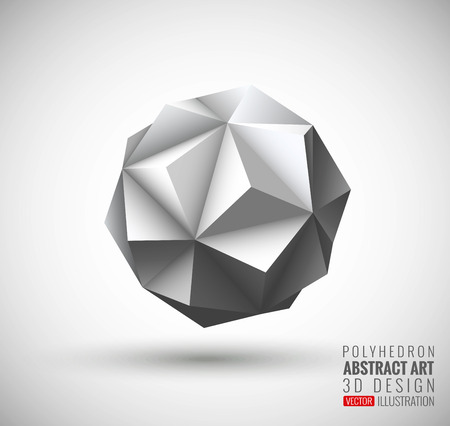 Abstract explosion. Vector polyhedron. Illustration