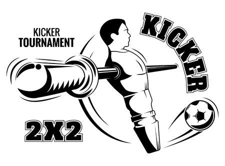 テーブル サッカーのポスター。キッカー エンブレム ベクトル グラフィックス。サッカー チームのロゴ。あなたのデザインやテキスト。  イラスト・ベクター素材