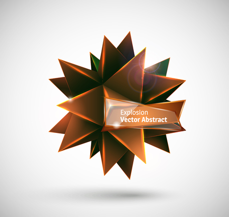 truncated: Abstract explosion. Vector polyhedron. Illustration