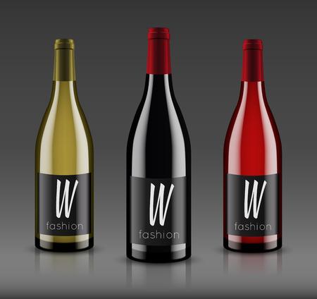 モックアップ ワインのボトル。ベクター デザイン。  イラスト・ベクター素材