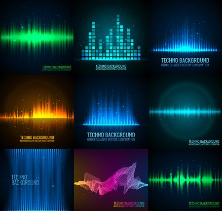 Vector sound waves set. Audio equalizer technology, pulse musical vector illustration.