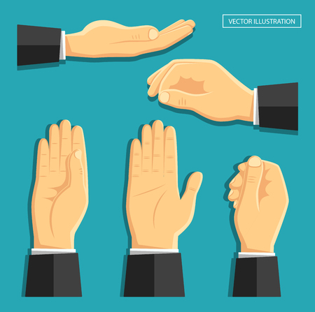 Vector illustration in the style of flat. A set of isolated hands. Empty hands for your design. Different staging and camera angle. Business design.