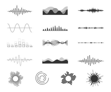 Vector sound waves set. Illustration