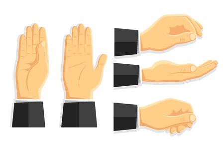 Set of vector isolated hand gestures