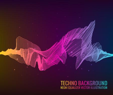 Vecteur des ondes sonores. Lecteur audio. Technologie d'égalisation audio, impulsion musicale. Illustration vectorielle Banque d'images - 94452956