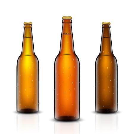 Beer bottle vector set on white background.