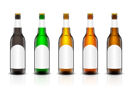 Three-dimensional bottles vector set in 3d illustration of empty beer bottles. Packing for your design. Realistic set of isolated objects.