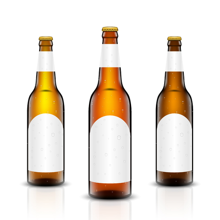 Vector set, Three-dimensional bottles. 3d illustration of empty beer bottles. Packing for your design. Realistic set of isolated objects. Illustration