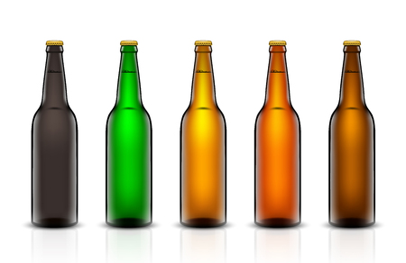 Three-dimensional bottles. 3d illustration of empty beer bottles. Packing for your design. Realistic set of isolated objects.