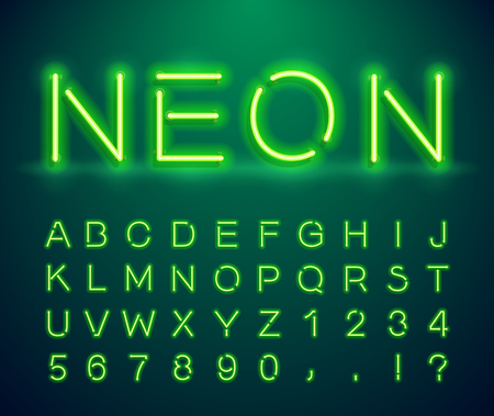 Set of letters in neon style. Vector font with light effect. Set of letters, numbers, text and font. Glow effect. Signboard Design. Illustration