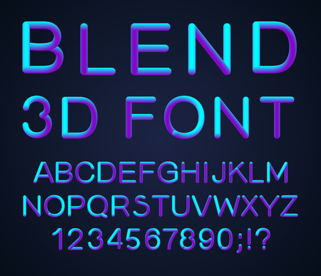 3d alphabet. Vector set of color letters. Font with a transition. Gradient lettering. Transition of a vivid color. The effect of shine. Futuristic style letters for your modern design.