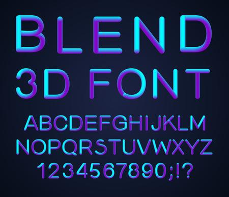 Alphabet 3D. Ensemble de vecteur de lettres de couleur. Police avec une transition. Lettrage dégradé. Transition d'une couleur vive. L'effet de la brillance. Lettres de style futuriste pour votre design moderne. Vecteurs
