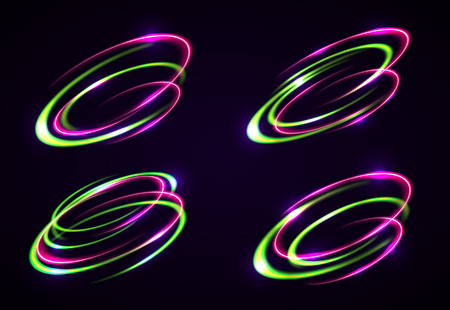 Vector light effect. The object s light stroke. Circular lens flare. Abstract rotational lines. Power energy element. Luminous sci-fi. Shining neon lights cosmic abstract frame. Magic round frame.
