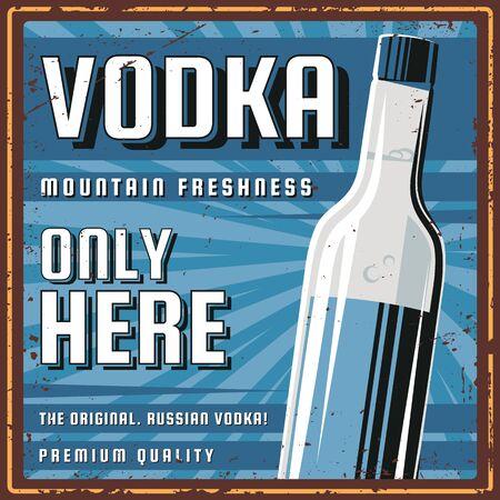 Vodka retro poster. Illustration