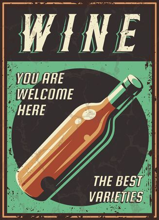 Vintage poster of a bottle of wine. Overlay vector texture. Minimalism old banner, vector image.