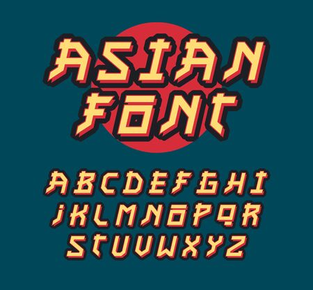 Asian style font. Çizim