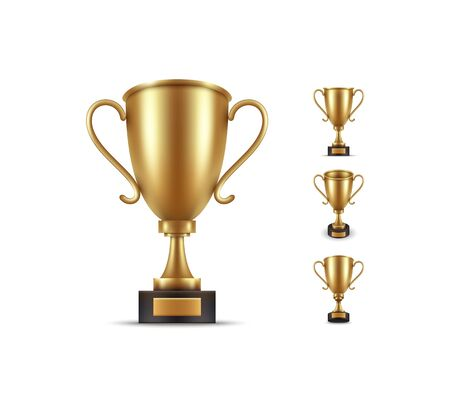 Realistic, golden cup object isolated, Symbol of victory and success. Vector illustration.