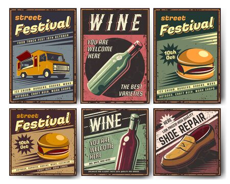 Set of retro posters in vintage style. With the image of different objects and on different topics. Old style poster, element for design.