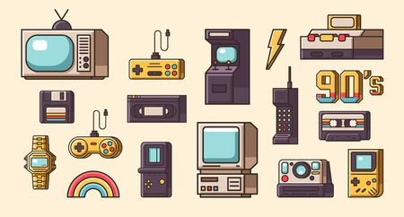 Set of vintage objects.
