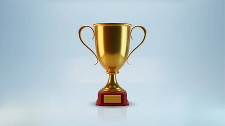 Vector golden cup, isolated 3d object, realistic design. Poster and element for sports tournaments and other events. Symbol of victory and success. Celebration and ceremony concept.