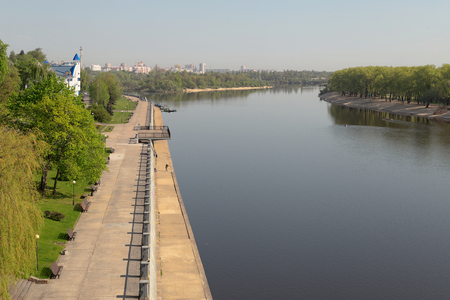 embankment: Sozh river embankment near the Palace and Park Ensemble in Gomel, Belarus