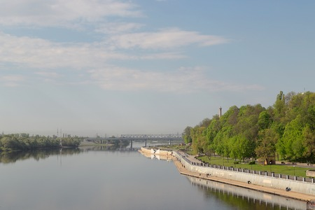 ensemble: Sozh river embankment near the Palace and Park Ensemble in Gomel, Belarus
