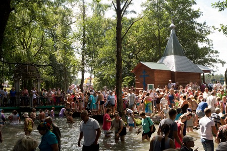 pilgrimage: SLAVGOROD, BELARUS - AUGUST 16: The Blue Krynica. mass pilgrimage for healing to Honey Spas August 16, 2013 in Slavgorod, Belarus .