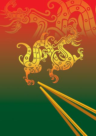 oriental cuisine: two dragons in red and green ground chinese background