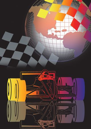 a1 grand prix motorsport racing with globe in colour.