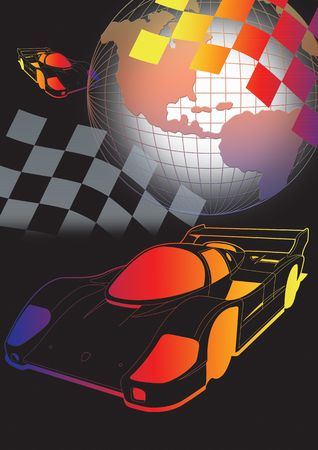 a1 grand prix motorsport racing with globe and flag in colour. photo