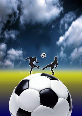 kickball: football - kick, focus on ball with drama in back ground