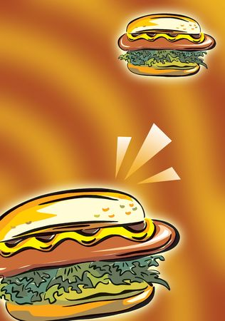 hamburger, hot dog and french fries in colour photo