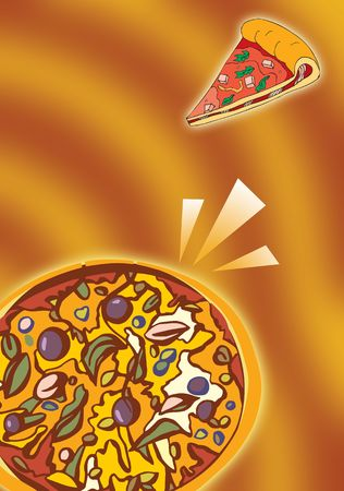 Hot pizza in orange and yellow ground  photo