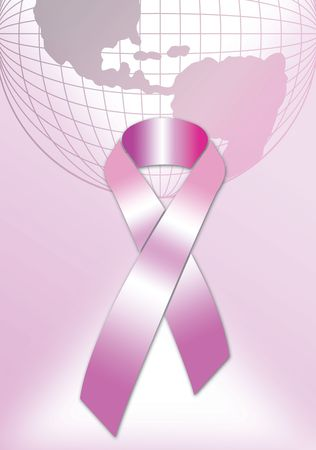 pink ribbon abstract breast cancer symbol with women poster