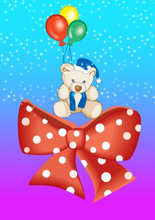 plaything: Teddy with balloons in blue Stock Photo