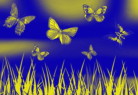 metamorphosis: butterfly picture on blue color ground with grass Stock Photo