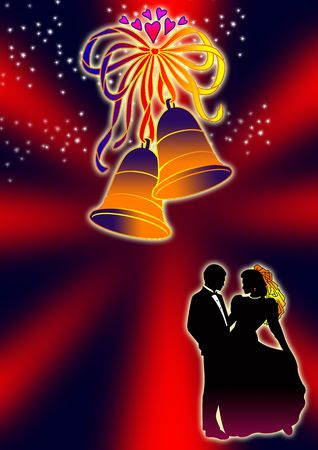 iron ribbon: bride and groom are silhouetted within a bell